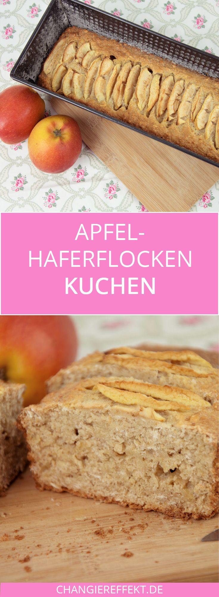 Apfel Haferflocken Kuchen - ein Rezept mit wenig Zucker #apfelcupcakes