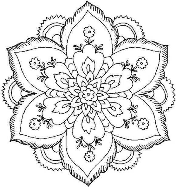 simple mandala flower coloring pages