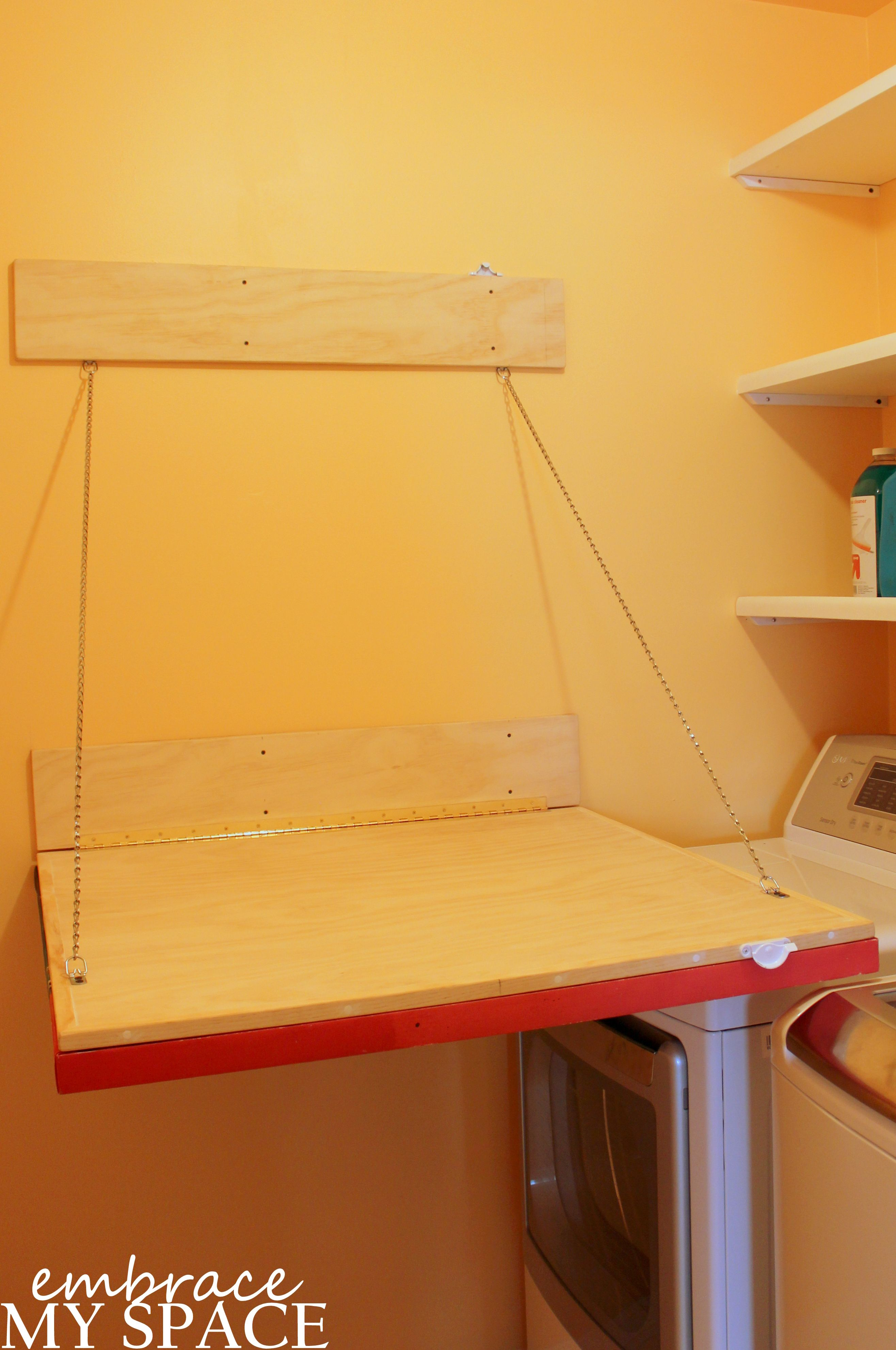 Fold Down Laundry Room Folding Table, Laundry Rooms, Woodworking Projects