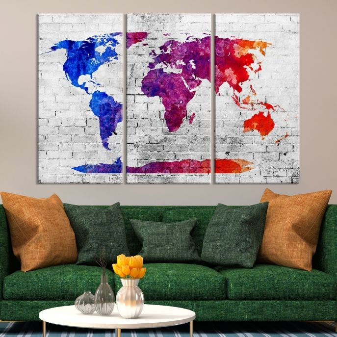Large wall art blue purple and red world map on white brick wall large wall art blue purple and red world map on white brick wall canvas print mygreatcanvas extra large wall art wall art print large world map gumiabroncs Images
