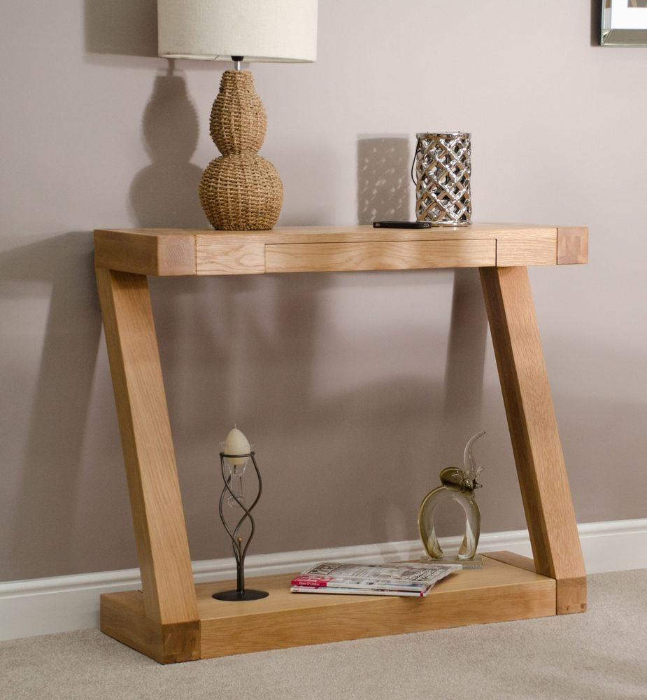 Zaria solid oak designer furniture console hallway hall table