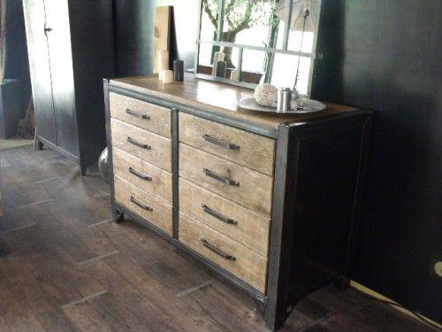 Bahut bois et acier style atelier sur mesure meubles meuble fer et bois mobilier de salon - Meuble buffet bois ...