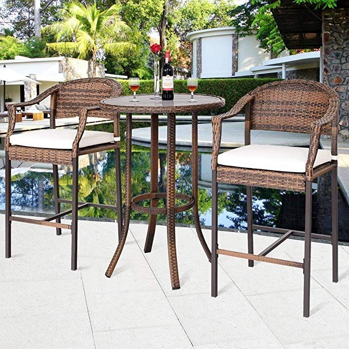 29067c17f469 Tangkula Patio Bar Set 3-Piece Wicker Rattan All Weahter Durable Poolside  Balcony Garden Furniture Bar Height Outdoor Table and Chairs Set