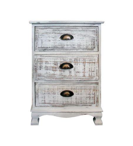 Commode Table De Chevet Nuit 3 Tiroirs Blanc Vintage