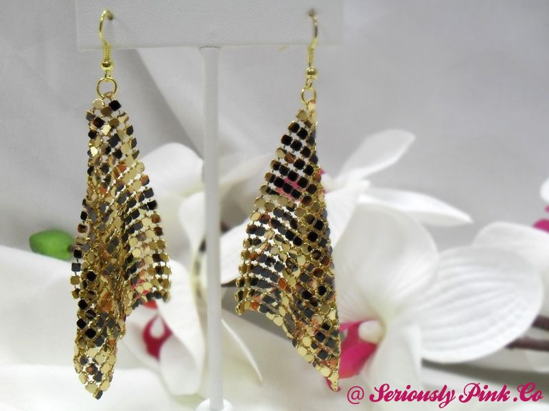 Tiger/Leopard gold mesh earrings...$1.00 at Seriously Pink