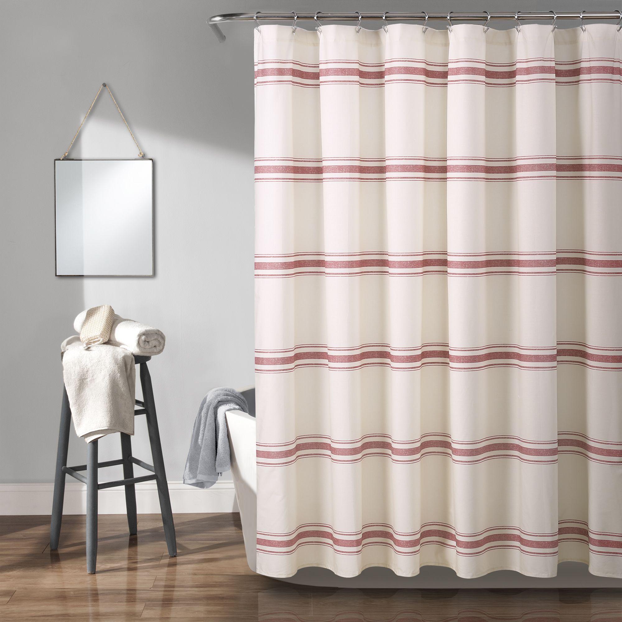 Farmhouse Stripe Shower Curtain Striped Shower Curtains