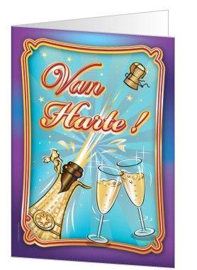 verjaardagskaart met een champagneglas en champagneglazen. Deze verjaardagskaart kun je ook gebruiken om iets anders te vieren of iemand te feliciteren met een prestatie.