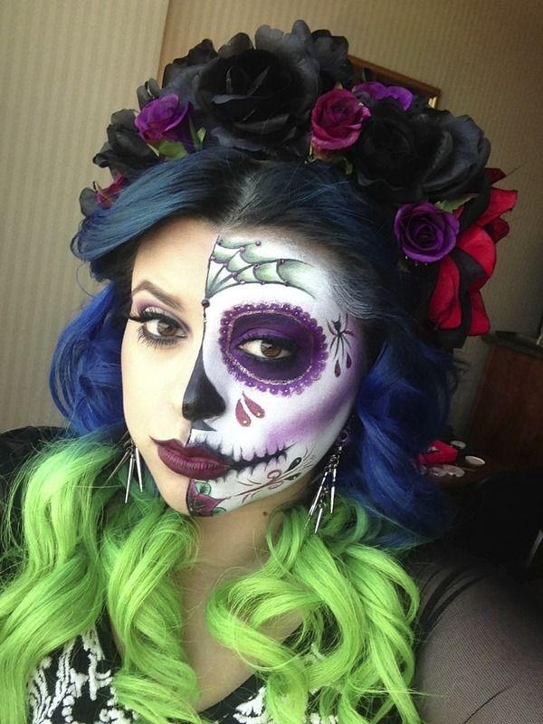 Dia De Los Muertos Day Of The Dead Halloween Hair Halloween Makeup Sugar Skull Sugar Skull Makeup