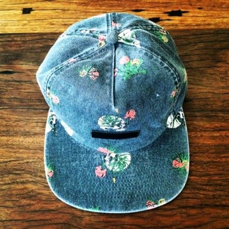 9ee3c15d skull print custom 5 panel cap with leather embossed badge and strap back  closure by thesaucesuppliers.com