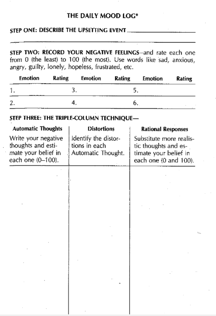 Daily Mood Log from The Feeling Good Handbook Identify a SPECIFIC – Log Worksheet