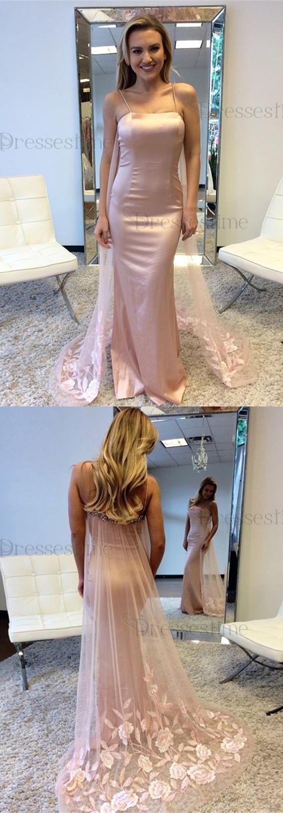 Mermaid spaghetti straps watteau train pearl pink prom dress with