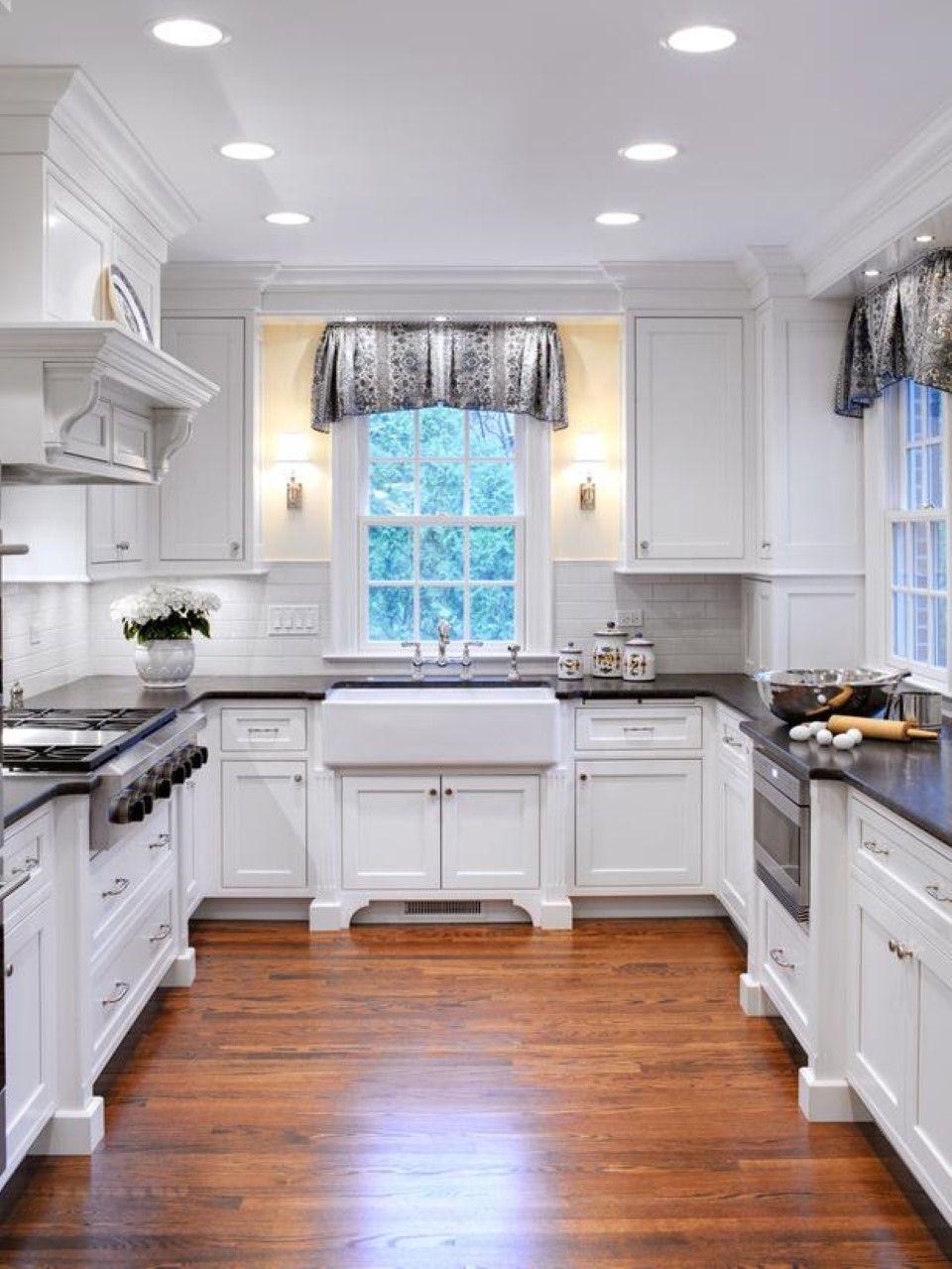 Dark Wood Floor Design in Cool Cottage U-shaped Kitchen Plus Apron U Shaped Kitchens With Sink Under Window on u shaped copper sink, u shaped bathroom vanity, v shaped kitchen sink, u shaped contemporary kitchens,