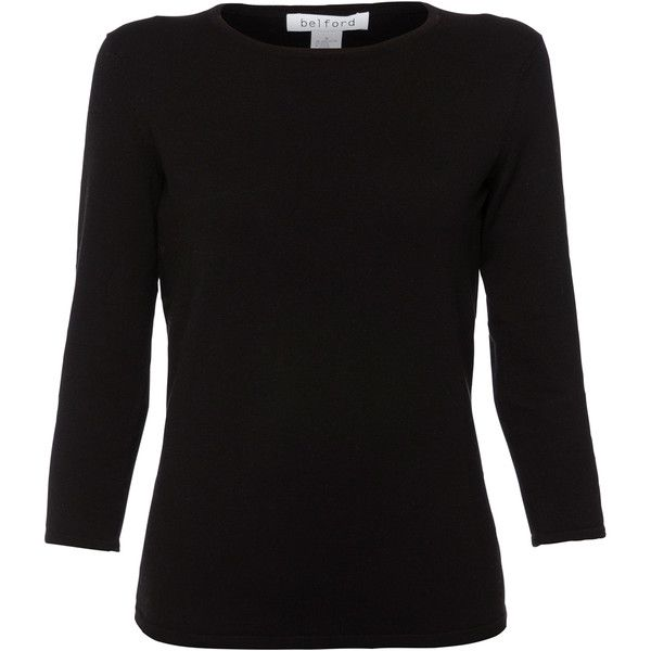 Belford Black Three-quarter Sleeve Pima Cotton Top ($105) ❤ liked on Polyvore featuring tops, black, 3/4 sleeve tops, pima cotton shirts, shirt top, three quarter length sleeve shirts and three quarter sleeve shirts