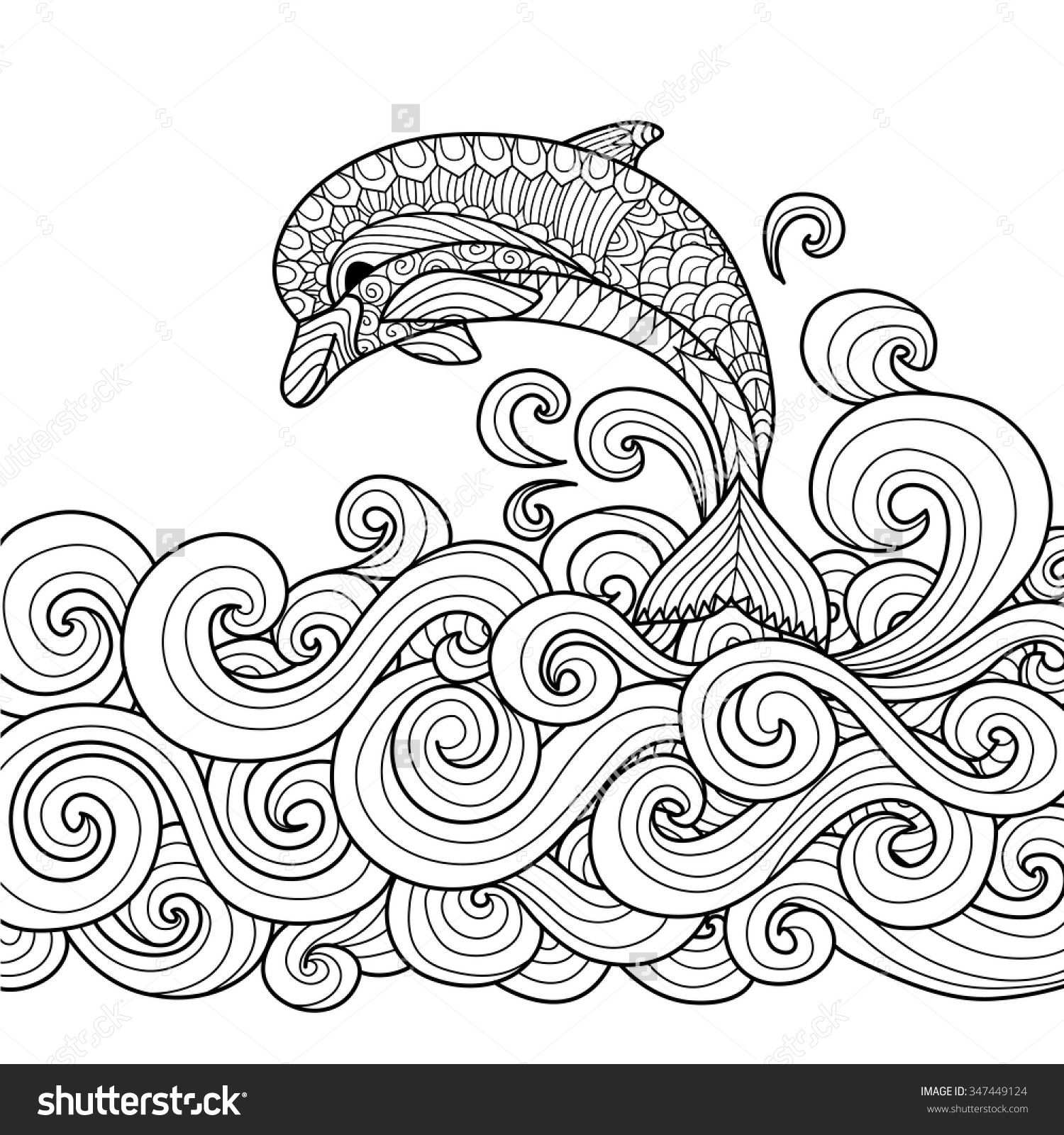 Hand Drawn Zentangle Dolphin With Scrolling Sea Wave For Coloring