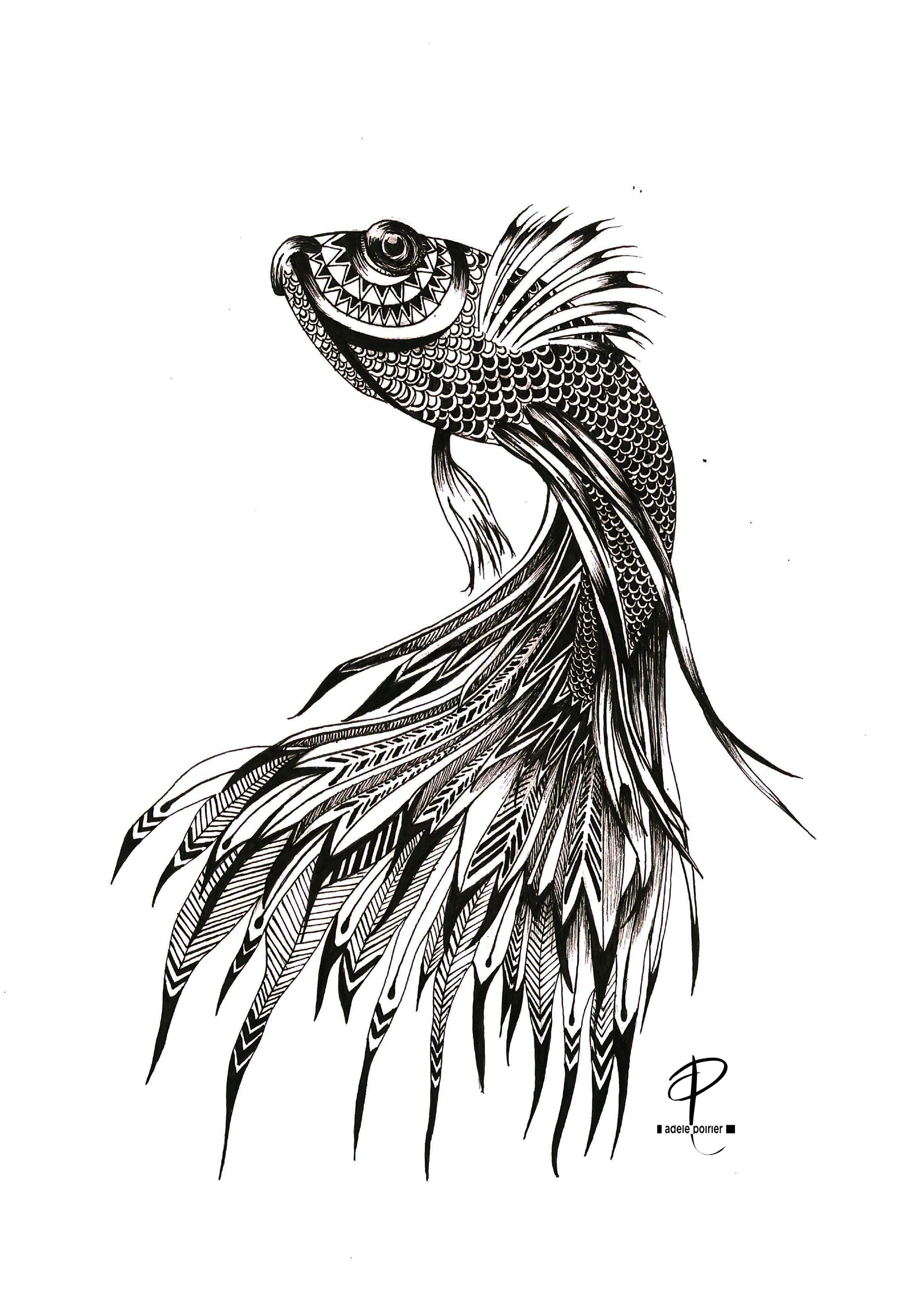 Drawings goldfish pattern by Adèle Poirier | Draw ... Betta Fish Drawings