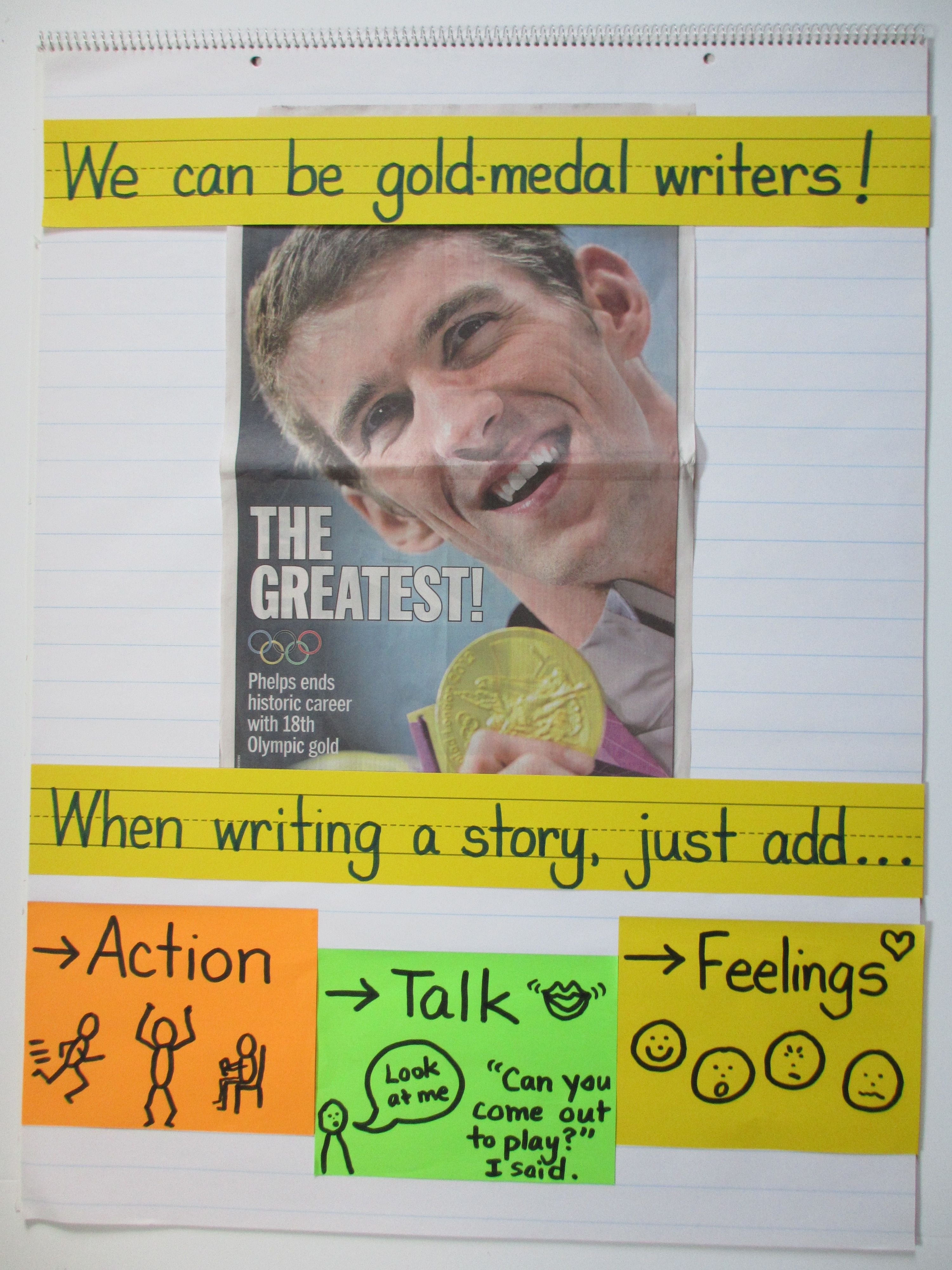 Writing Anchor Chart...use a metaphor they are familiar with...We Can Be Gold Medal Writers!