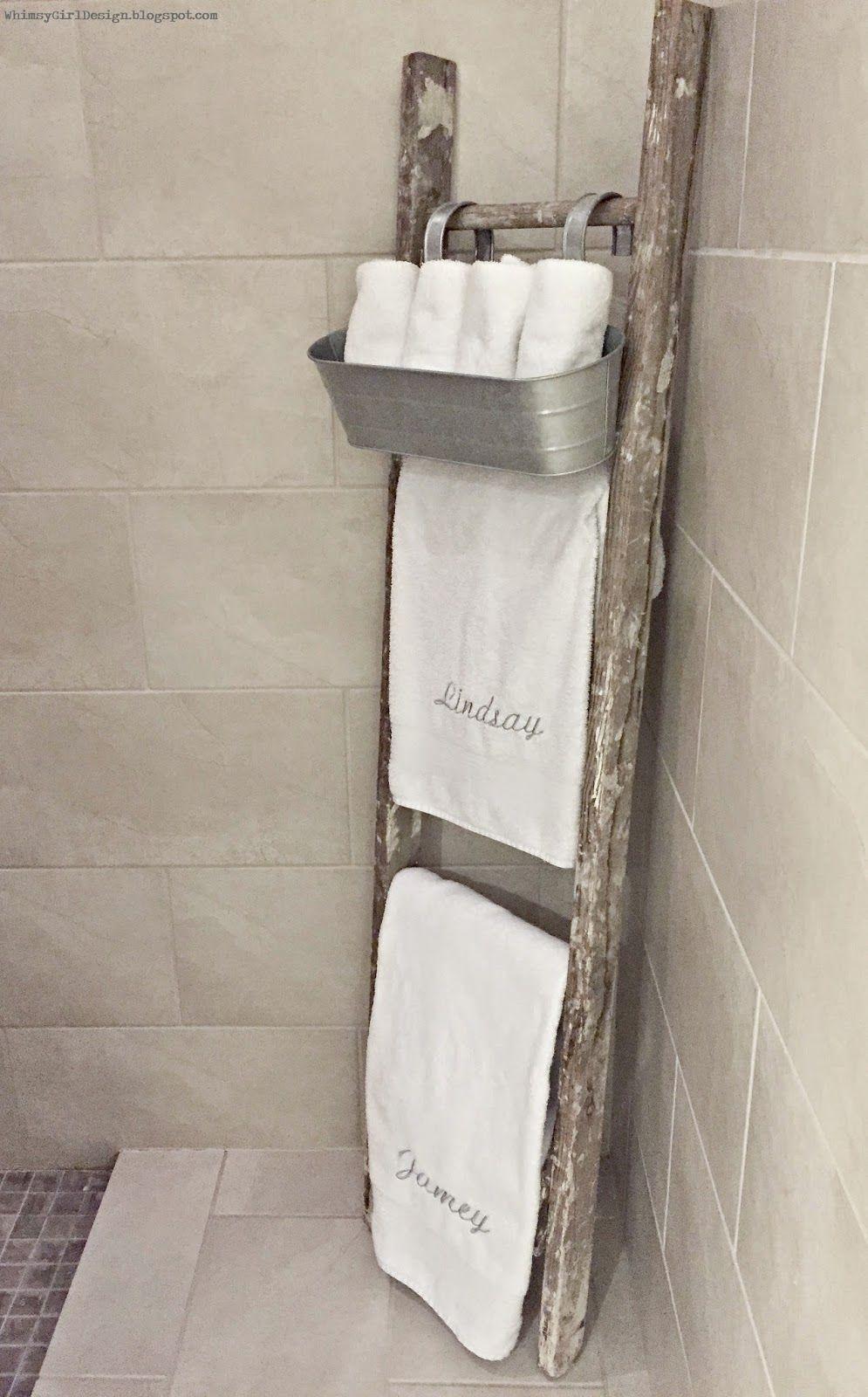 Whimsy girl design master bathroom old rustic ladder used as towel