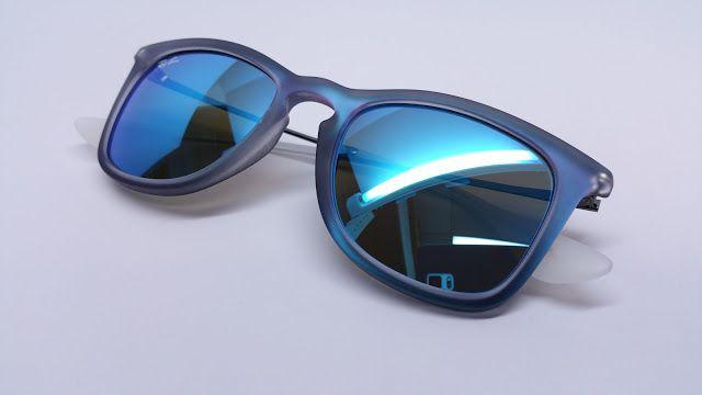 9f14b6d9ff Ray-Ban RB 4221 6170 55 Shot Blue Rubber Sunglasses