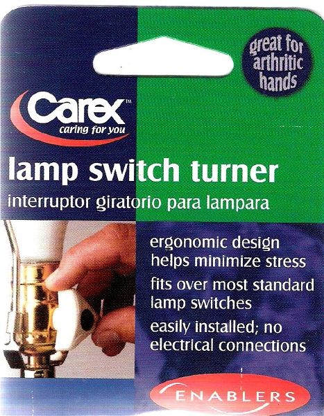 Do you have problems turning small lamp switches that you have to twist to operate? The Enlarger fits over the existing twist switch to provide an easy, stress-free grasp to turn the switch.