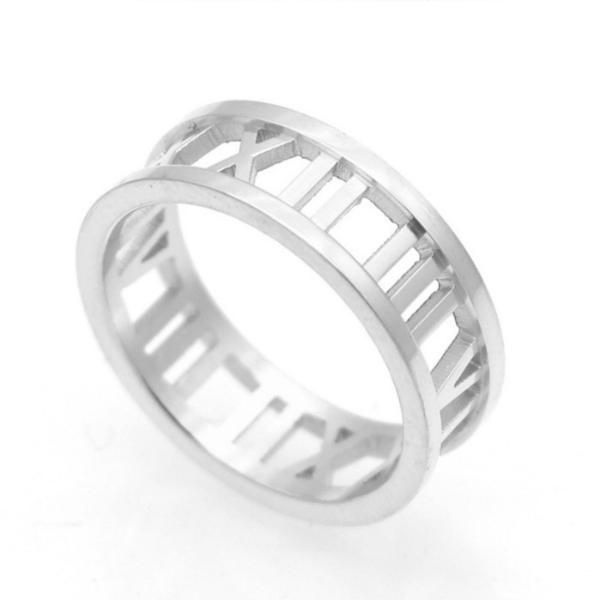 Roman Numerals Stainless Steel Ring Stainless Steel
