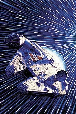 Millenium falcon going into hyperspace!