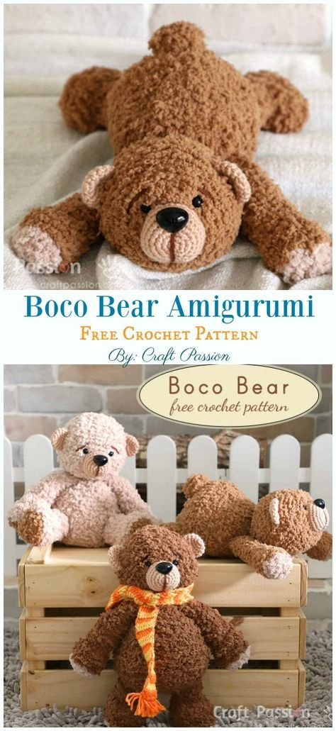 Free Amigurumi Bear Toy Softies Crochet Patterns #crochetbear