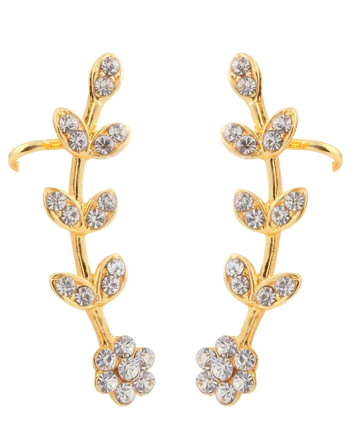 95914609d Best for daily wear, Kriaa Austrian Stone Floral Design Gold Plated Ear  Cuff @ Rs