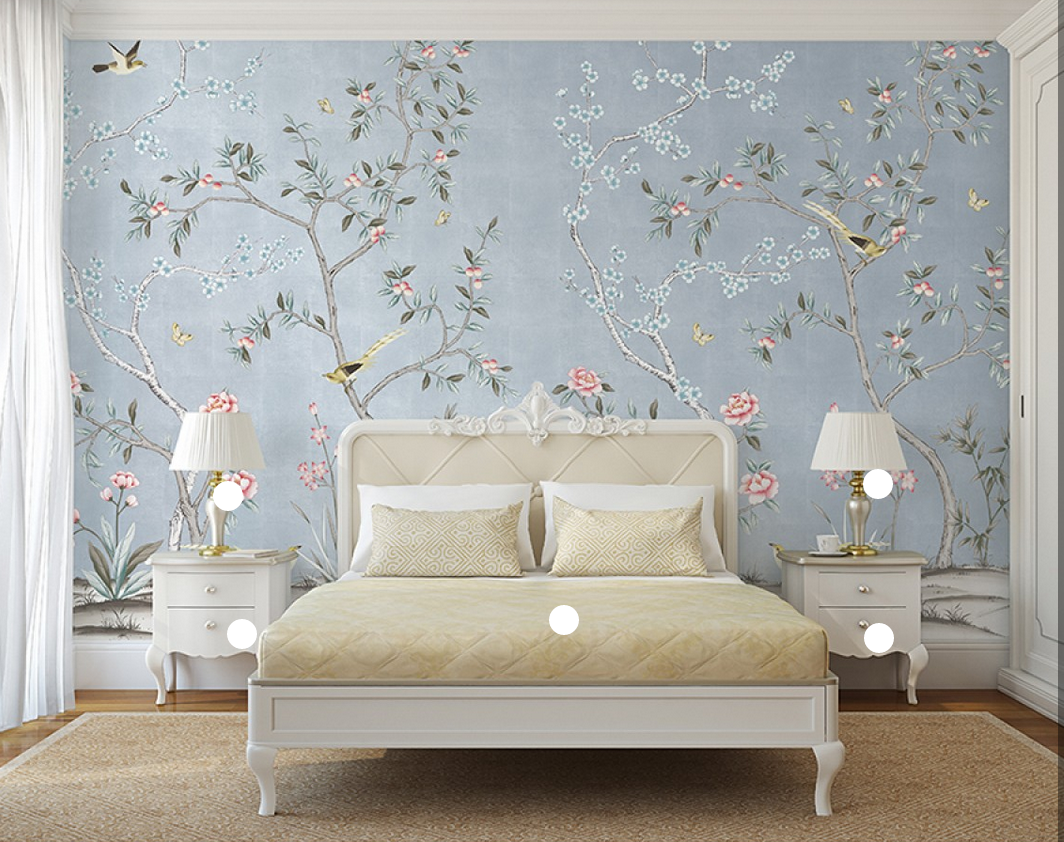 Affordable handpainted chinoiserie wallpaper panels from