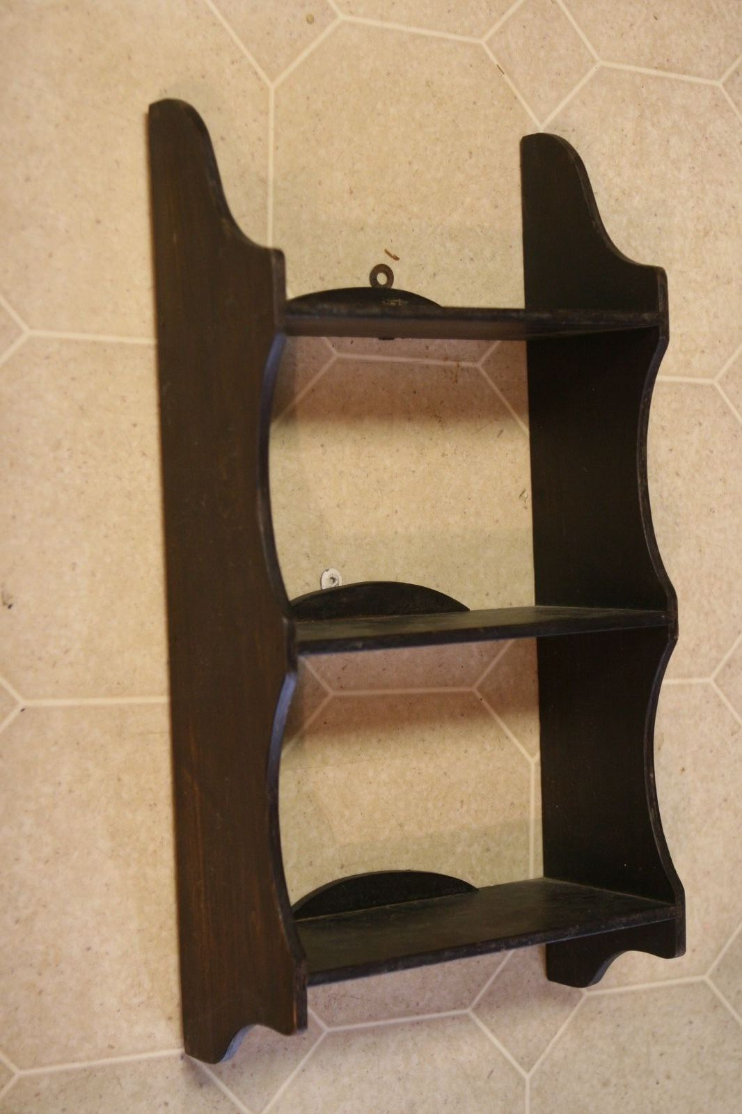 vintage brown pine hanging 3 shelf nicknack shelves wall shelf