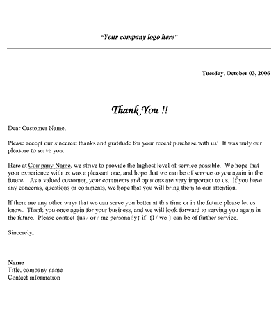 Free Printable Business Thank You Letter Template  Customer