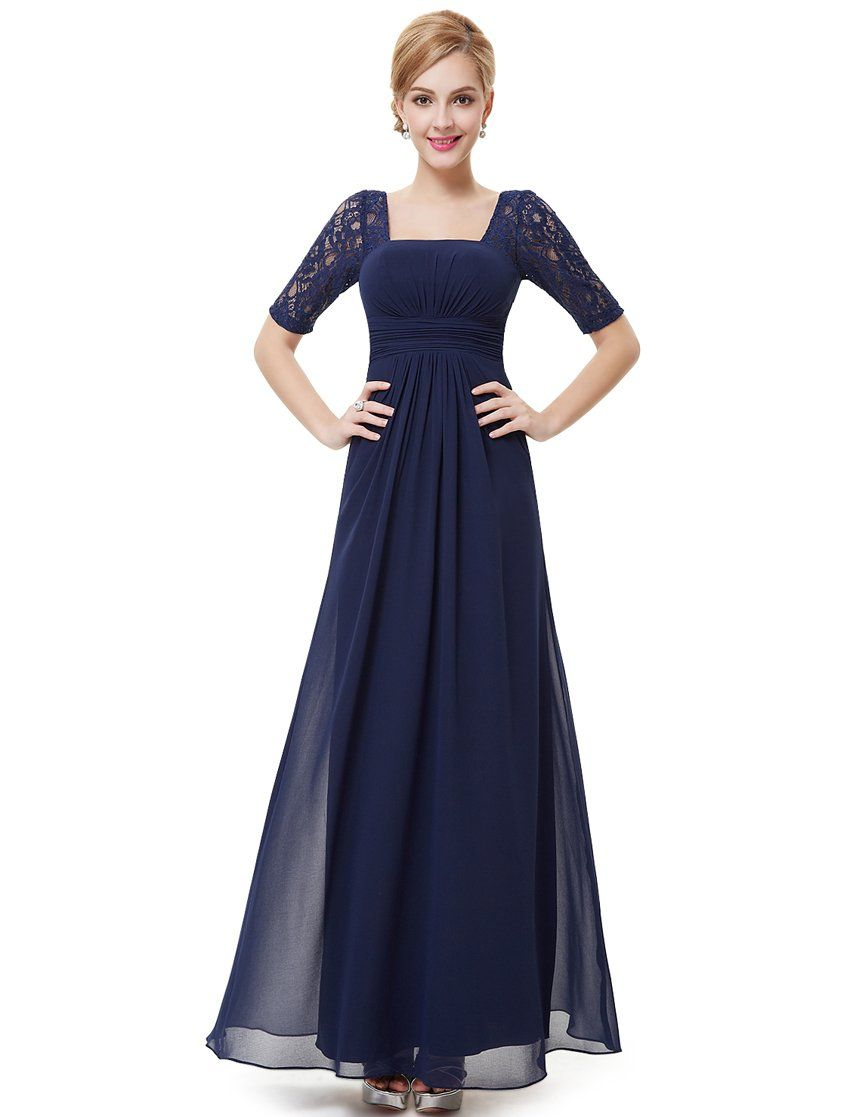 Amazon.com: Ever Pretty Half Sleeve Square Neckline Ruched Waist ...
