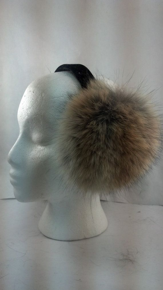 Coyote Fur Earmuff with Velvet Band Grey