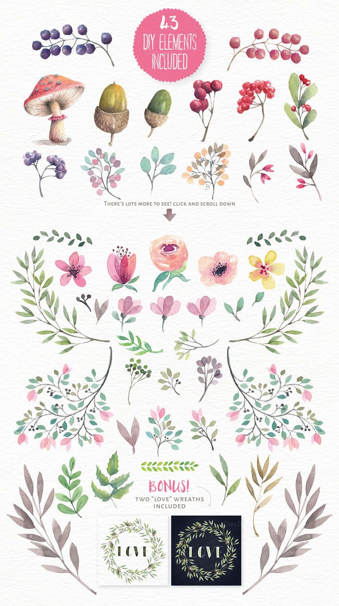 Photo of Download Lovely Illustrated Watercolor Elements