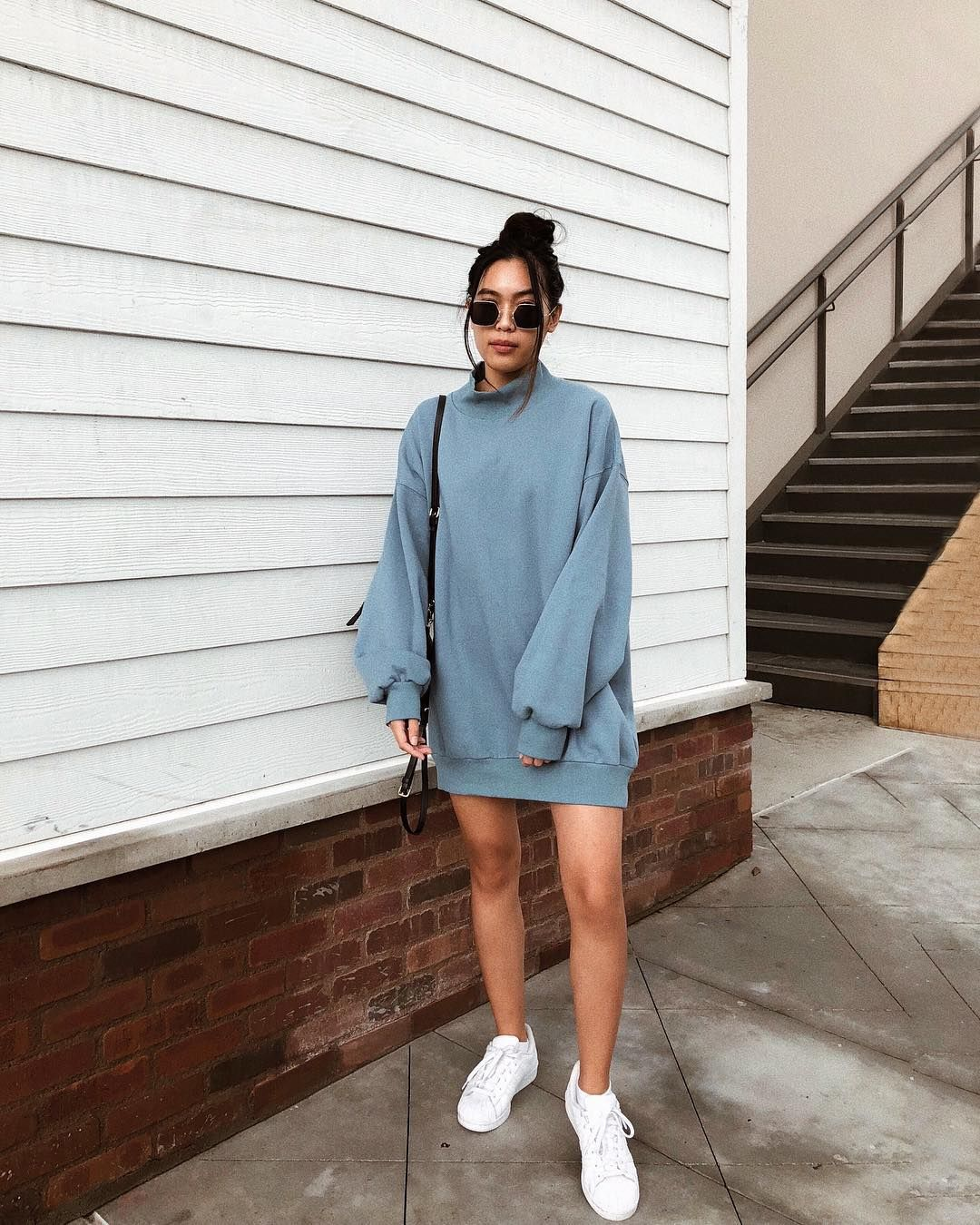 Alyssa May On Instagram The Sneaker Dress Combo Is Transitioning Over Into The Fall Season Dress With Sneakers Sweater Dress Oversized Dress With Converse [ 1350 x 1080 Pixel ]
