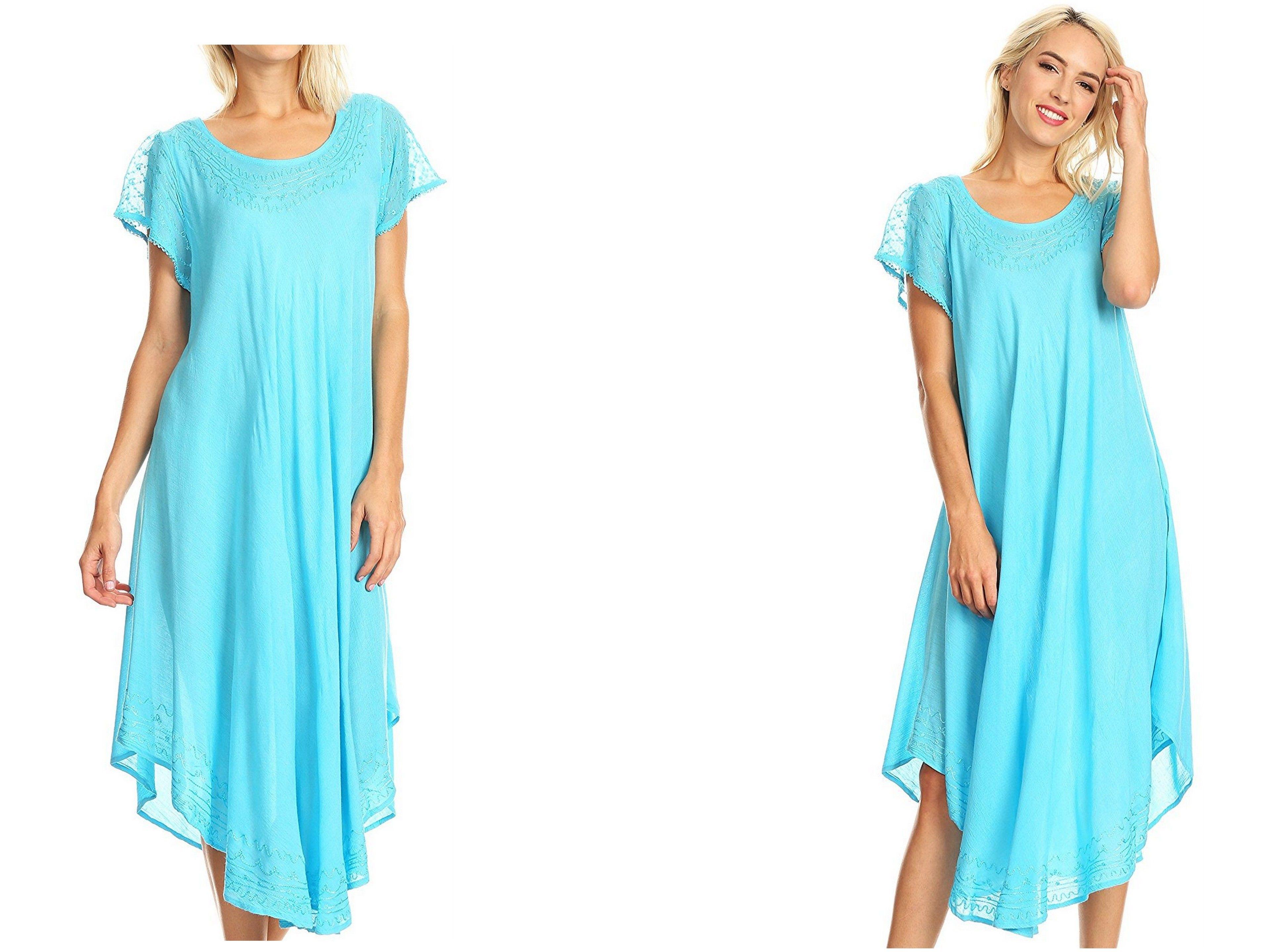 bc47428df1 Sakkas Everyday Essentials Cap Sleeve Caftan Dress / Cover Up ...