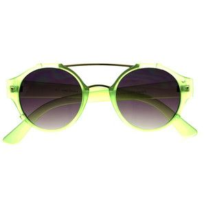 Metal Top Bar Retro Fashion Unisex Matte Round Sunglasses R2720