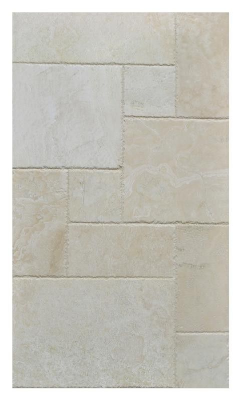 Cascade White Travertine Versailles Pattern Unit Honed Filled Chiseled Edge Versailles Pattern Travertine Versailles