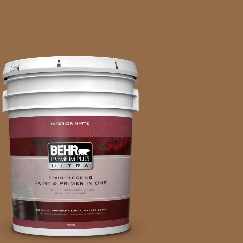 BEHR Premium Plus Ultra 5 gal. #S260-7 Nugget Gold Matte Interior Paint