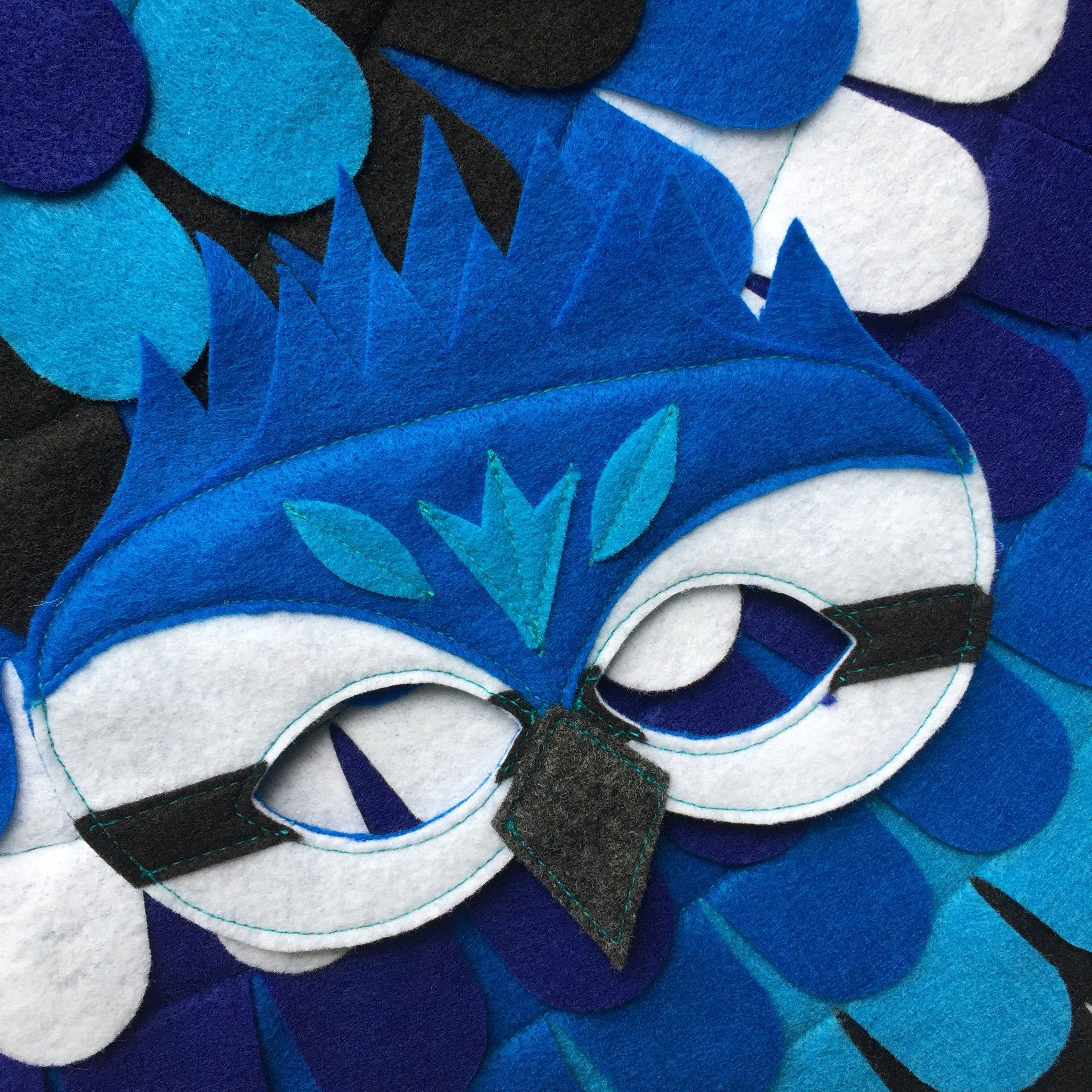 Blue Jay Costume Set / Wings and Mask / Made in USA / Eco