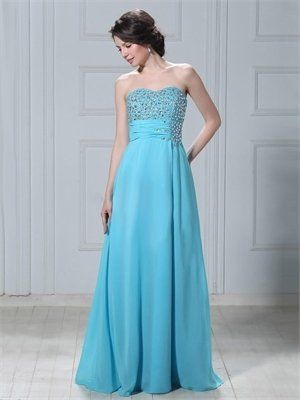 A-line Strapless Sweetheart with Beadings Long Chiffon Prom Dress PD11137 Sale Online