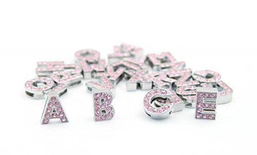 Namsan rosa Strass A - Z 26 Buchstaben --13mm x 10mm x 5mm (Lenth x Breite x Dicke) --Letter A