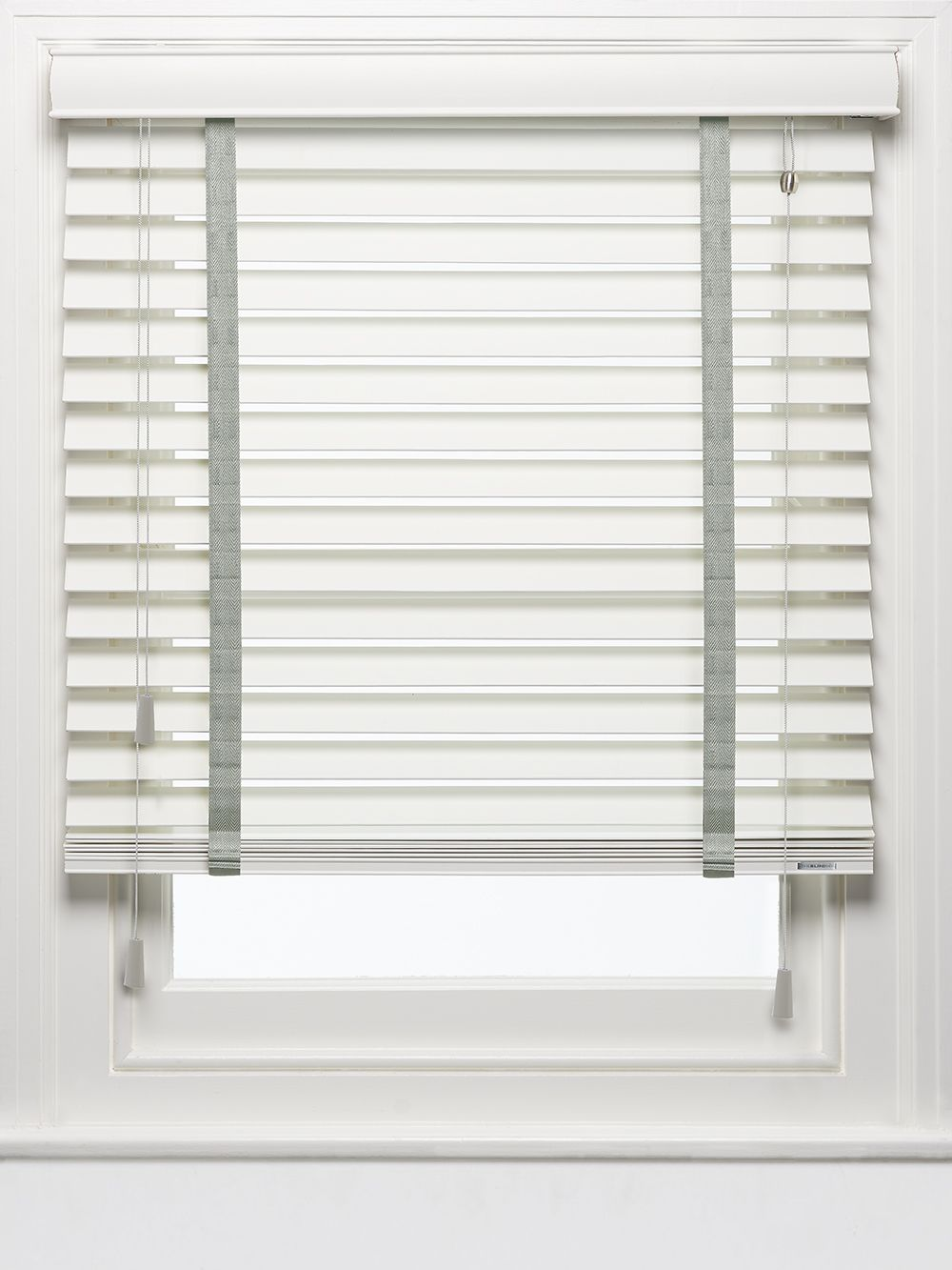 Wood Venetian Blind Made In The Uk Chalk With Estate Grey Tapes