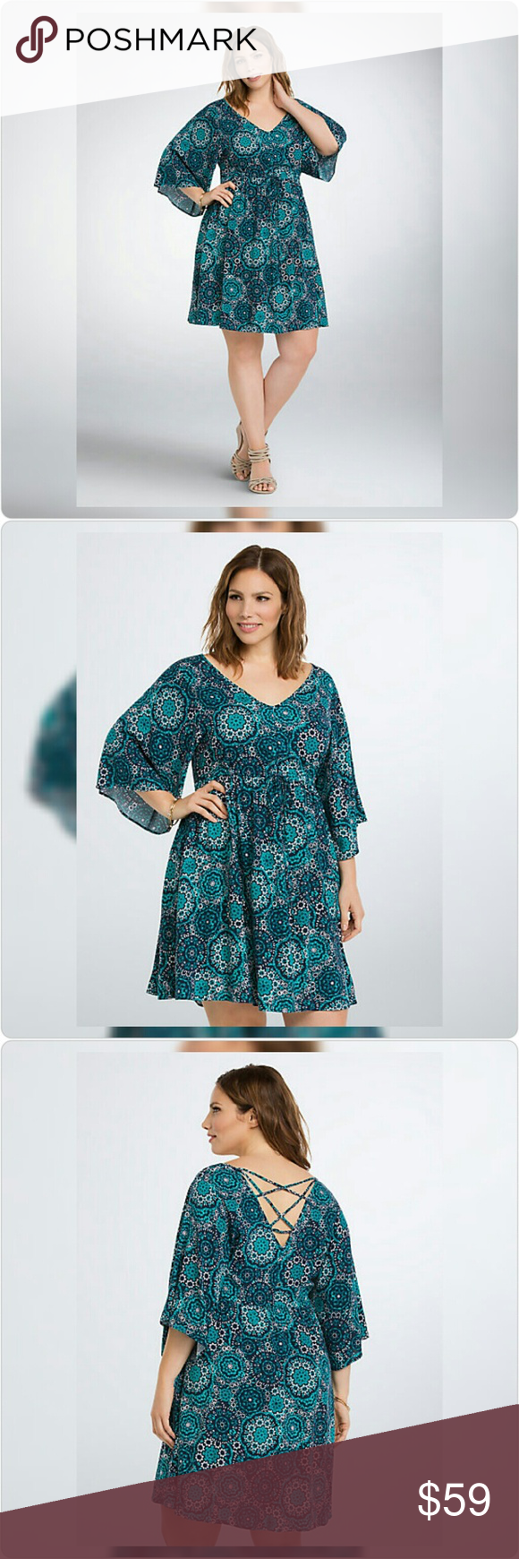 "NWT! Geo Print Lattice Back Dress NWT!  Torrid size 3/3x (22W-24W) ""This turquoise and blue geo print sundress is what bohemian dreams are made of, while the sweeping bell sleeves are oh-so flattering. The drawstring waist keeps it comfy, the strappy lattice back makes sure that you get a tan."" 43"" long from shoulder Rayon Wash cold, dry flat torrid Dresses"