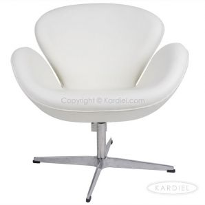 Merveilleux Not Found. White Leather Swan Chair ...