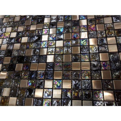 kitchen ideas for decorating glass tile iridescent stainless metal mosaic backsplash 19631