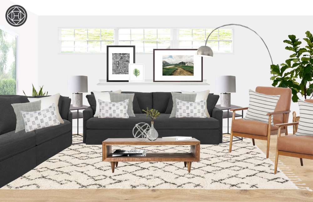 Eclectic, Industrial, Midcentury Modern Living Room Design by Havenly Interior Designer Amy #havenlylivingroom Contemporary, Eclectic, Midcentury Modern Living Room Design by Havenly Interior Designer Amy #havenlylivingroom