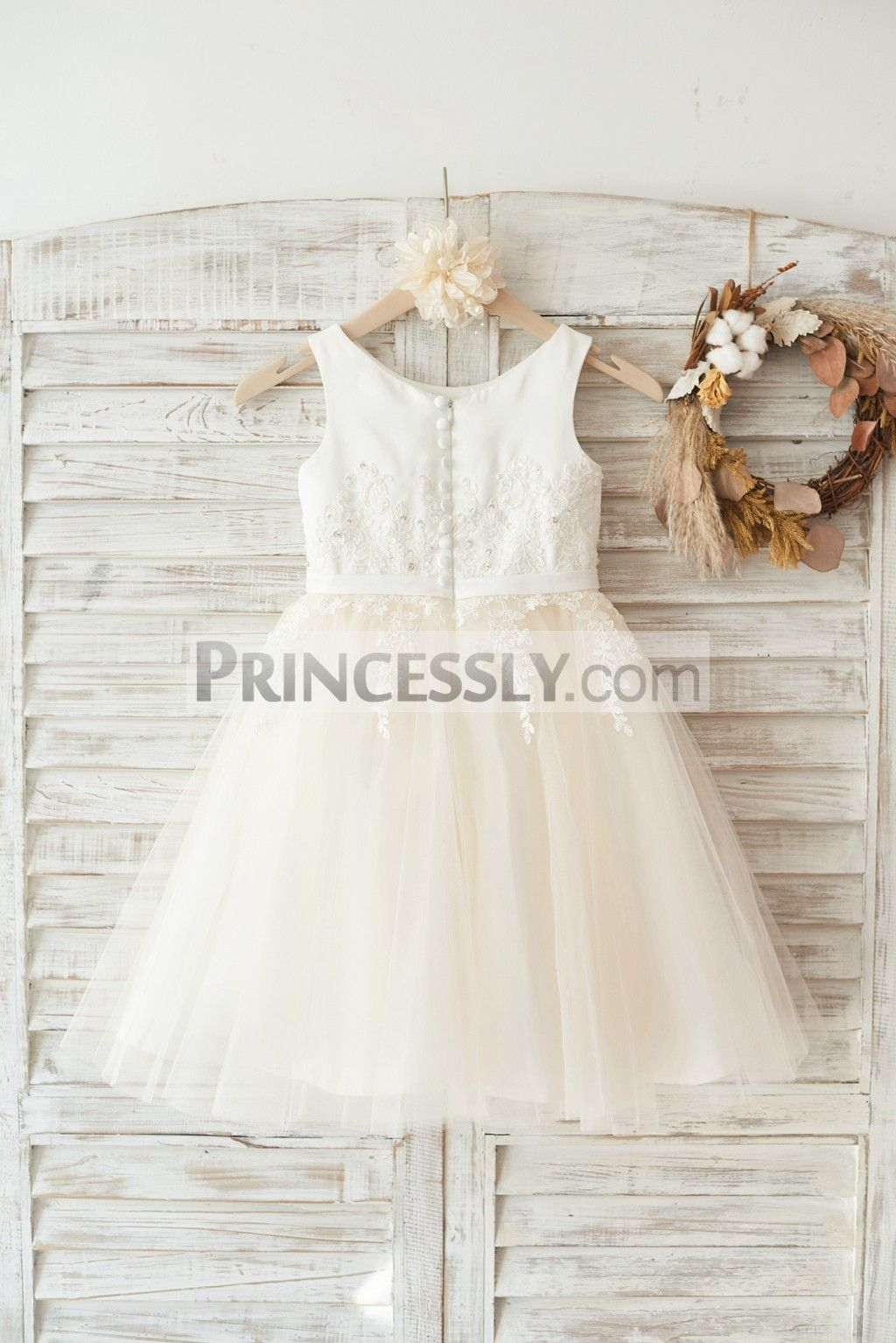 46f900e3ee0 Ivory Satin Champagne Tulle Wedding Flower Girl Dress with Ivory Beaded Lace
