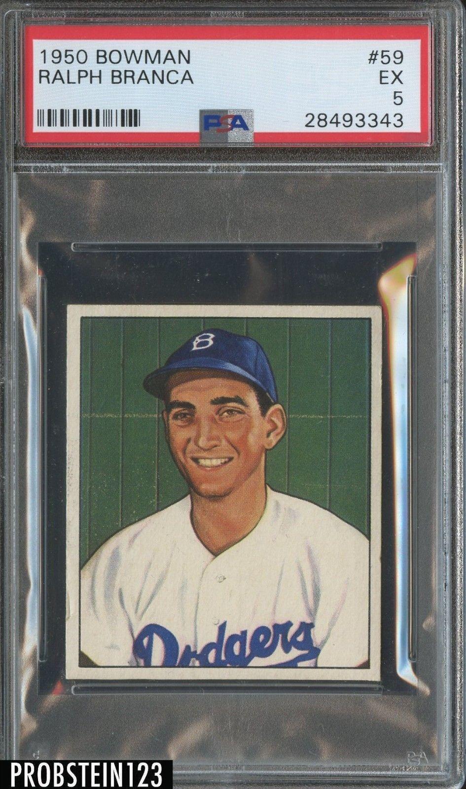 1950 Bowman 59 Ralph Branca Brooklyn Dodgers Psa 5 Ex