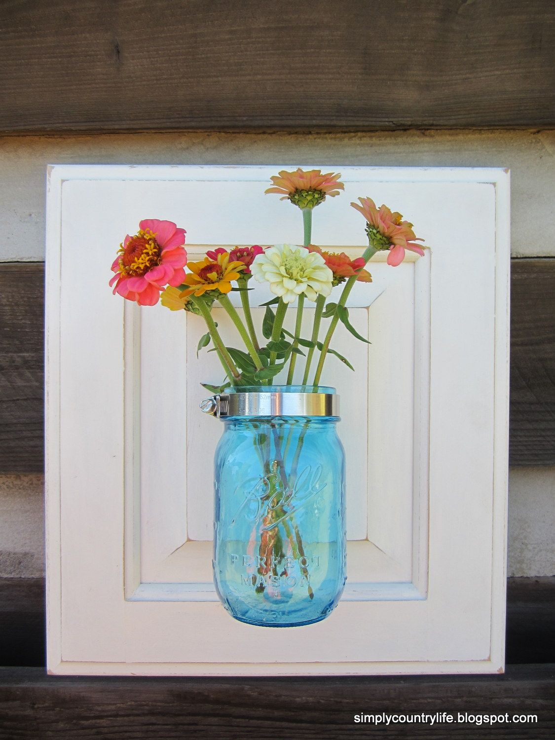 Simply Country Life Cabinet Door Repurposed Into Mason Jar Wall Vase Upcycle Ideas