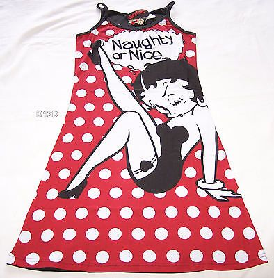 Betty Boop Ladies Red Black Naughty Or Nice Printed Cotton Nightie Size S New